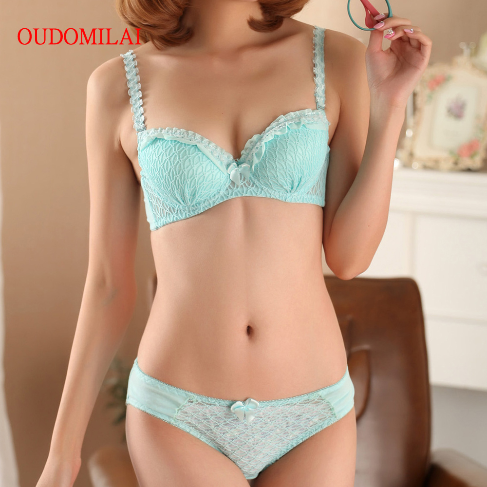 OUDOMILAI Hot Japanese Cute Women's   Bra     Set   3/4 Adjusted Push Up Underwire   Sets   70 75 80 A B Cup Small Chest Girls Sexy Lingerie