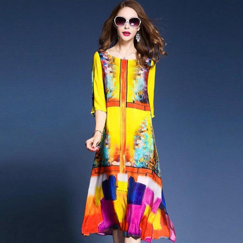 Western Fashion Floral Print Dresses Woman Half Sleeve Brand Vestidos Mujer 2018 Elegant Silk Dress Summer Spring Yellow M 3XL