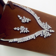 2016 New White Gold Plated Wings AAA Cubic Zirconia Wedding Bridal Prom Party Trendy Jewelry Necklace Collar Gift