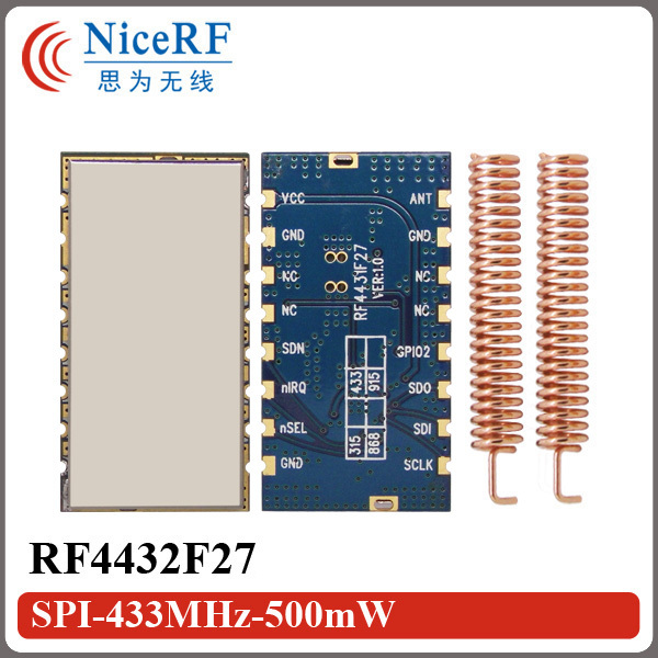 Free Shipping 5pcs/lot RF4432F27 500mW SPI Interface Embedded Anti interference FSK/GFSK/OOK 433MHz RF Module-in Communications Parts from Cellphones & Telecommunications