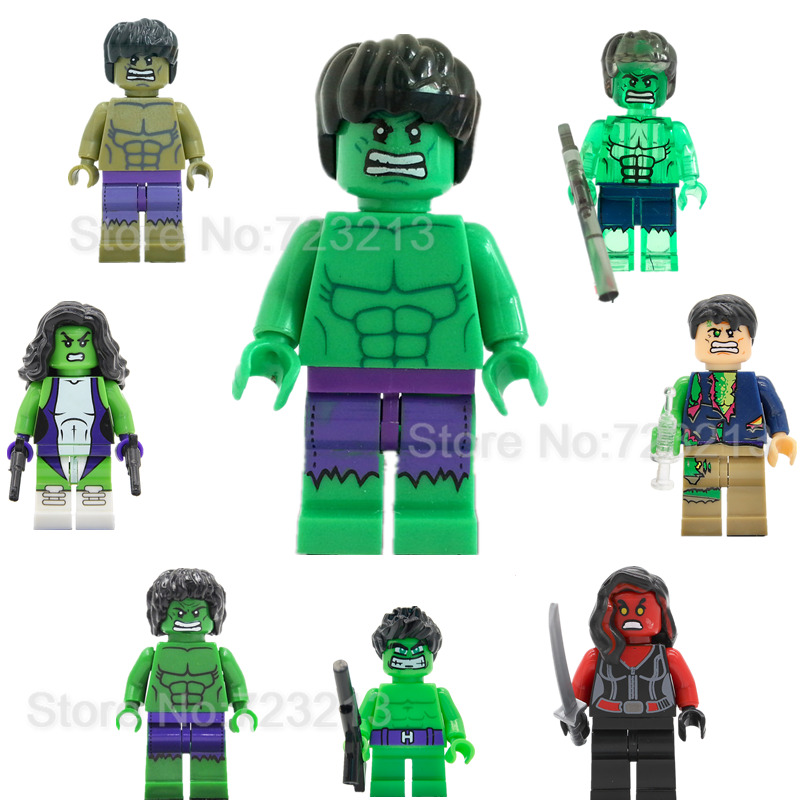 Hulk Super Hero Single Sale Bruce Banner Red She-Hulk Marvel The Avengers Building Blocks Sets Model Figure Toys XH002 the falcon marvel super hero sam wilson figure the avengers captain america building blocks sets model bricks toys for children