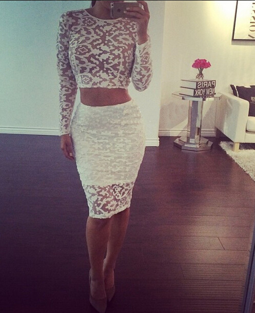 f98912655b2 Women White Lace Dress Print 2 piece Bandage Dresses Women Luxurious Bodycon  Party Dress Laser Embroidery Mesh Pencil Dress T75-in Dresses from Women s  ...