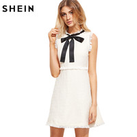 SheIn Autumn Dresses Women 2016 Ladies White Party Dresses Bow Tie Neck Sleeveless Elegant Frayed Trim