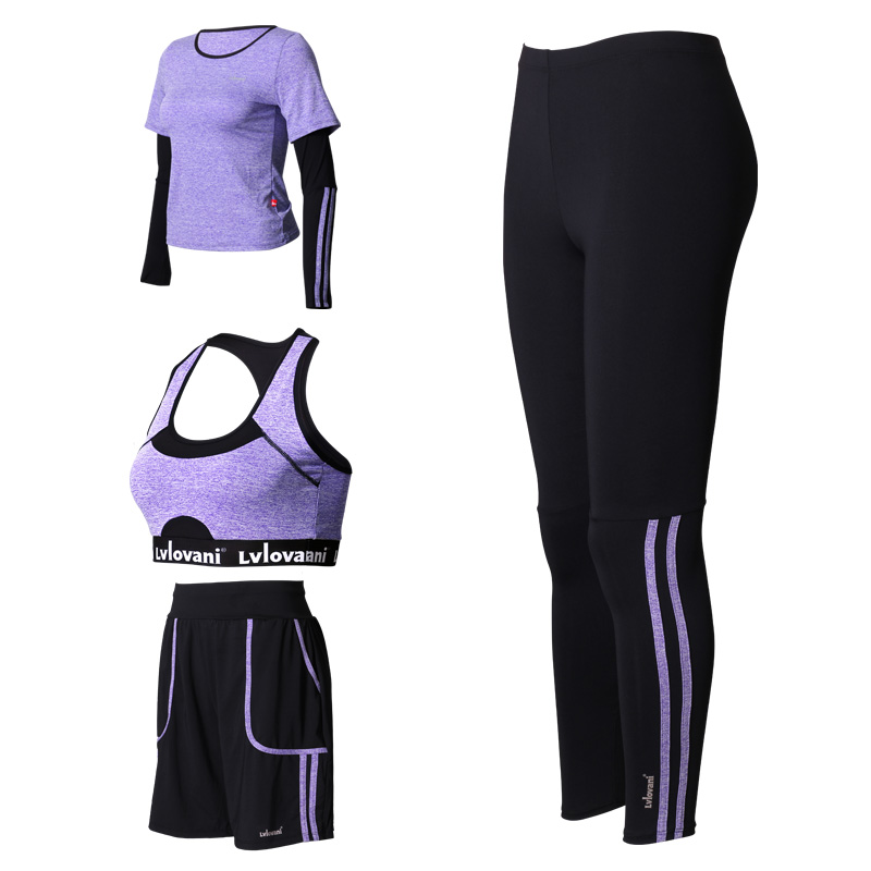 2017 High Quality 4 Pieces Yoga Set Solid Bra Pants Jacket Shorts Gym Clothes Sport Wear