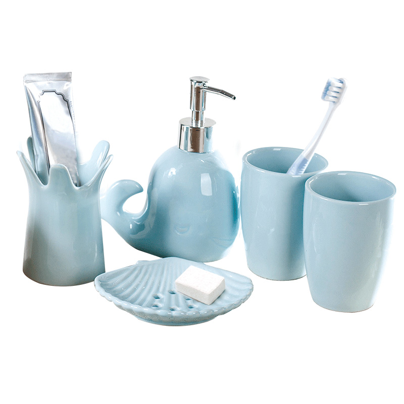Whale Bathroom Accessories | Us 47 49 5 Off 5 Pcs Set Cute Whale Shape Solid Color Ceramic Wash Set Creative Bathroom Accessories Set Wedding Gift In Bathroom Accessories Sets