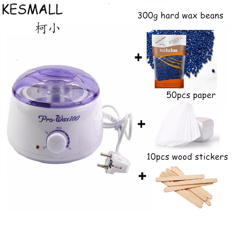 KESMALL Hard Wax Beans Heater Set Hand Body Depilatory Hair Removal Cream Brazilian Pellet Wax Warmer+Sticks+Paper CO437 depilatory wax warmer hard wax beans hair removal black wax machine 250g natural beans for beauty spa epilation