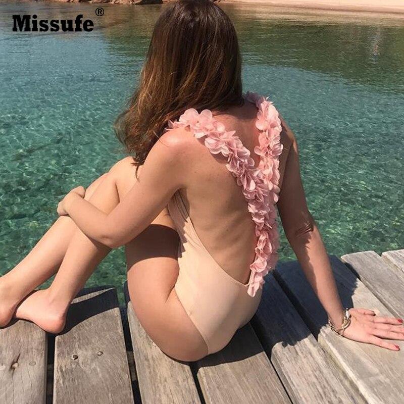 Missufe Women Cross Backless Beachwear Sexy Bandage Swimsuits Rompes 2018 Summer Bodysuit New Fashion Petal Deco Beach Bodysuits