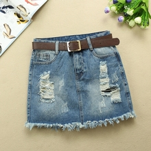 Fashion Mid Waist Denim Skirt Blue Light Wash Women Ripped Hole Mini A-line Skirt 2019 Sexy Summer Skirt