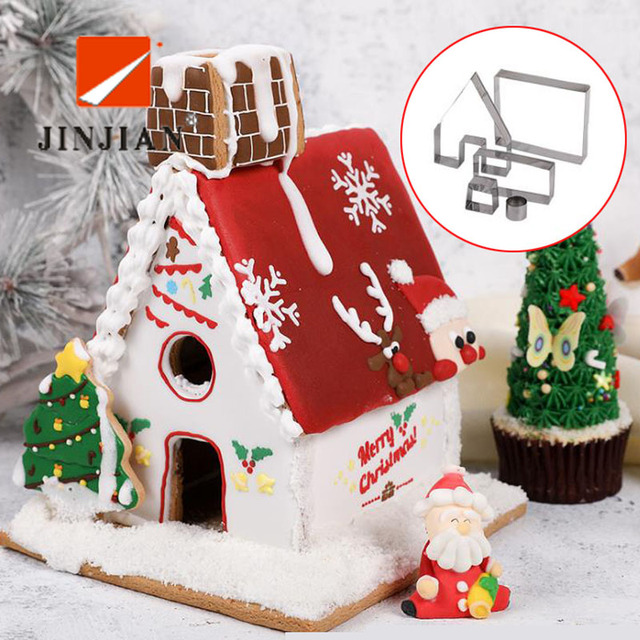 Us 4 37 5 Off Jinjian Cute 6 Pcs Set Cookie Cutters Christmas 3d House Cookies Moulds Stainless Steel Fondant Cake Mold Bake Diy Baking Tools In