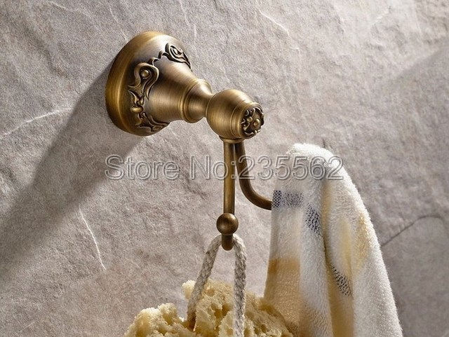Antiek Messing Badkamer Haken Kleding Handdoek Haak & Hanger Dual ...