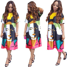 2019 new African womens dress big stone base fashion print dress, casual loose color cartoon character