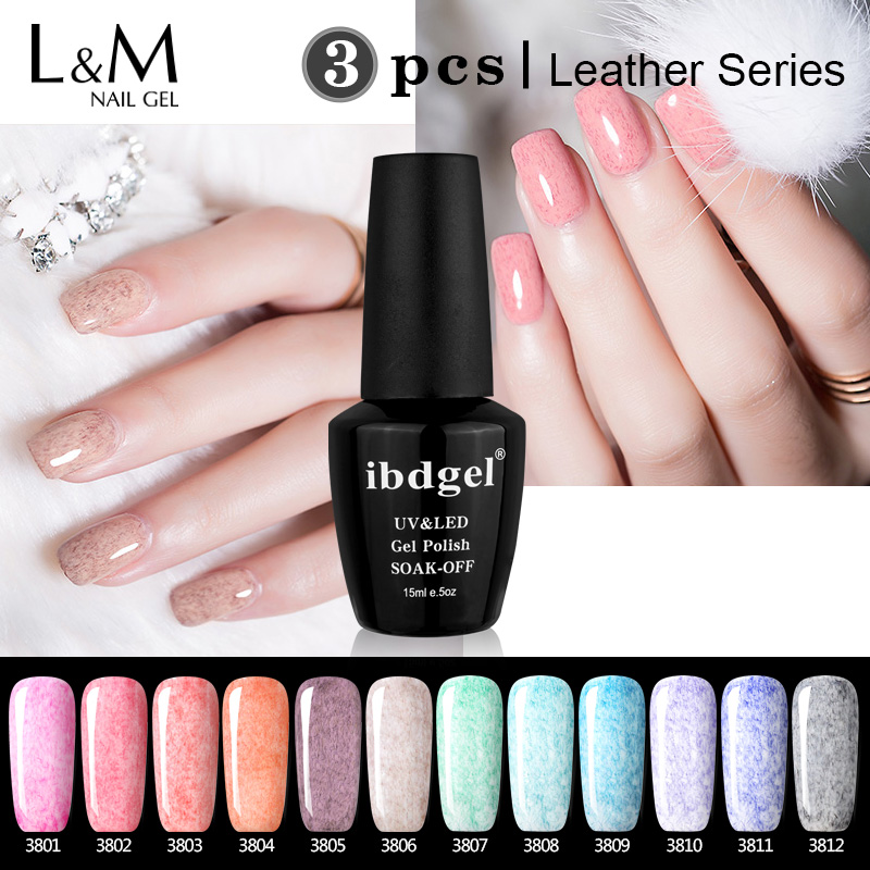 Black Bottle 3 Pz Set Leather Gel Nail Polish 15ml ibdgel Brand Beauty Color Professional UV Nails base coat primer gelpolish
