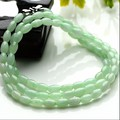 Hot sale  17 Inch Length 100% Natural Green Jade/Jadeite Olive shaped Beads Necklace
