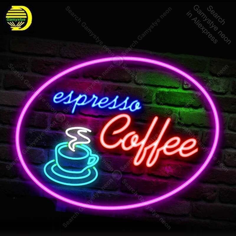 Enseigne au néon expresso café enseignes au néon pour Restaurant Tubes de verre néon ampoules enseigne décorer chambre mur artisanat bière Bar signe