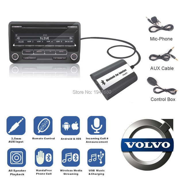 for volvo hu series c70 s40 60 80 v70 xc70 interface bluetooth handsfree usb aux car mp3 adapte. Black Bedroom Furniture Sets. Home Design Ideas
