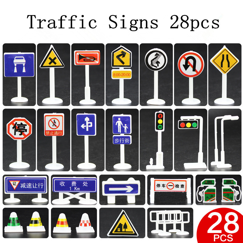 Traffic light Signs Model font b Toy b font 28pcs lot DIY Mini Signpost Traffic Scene