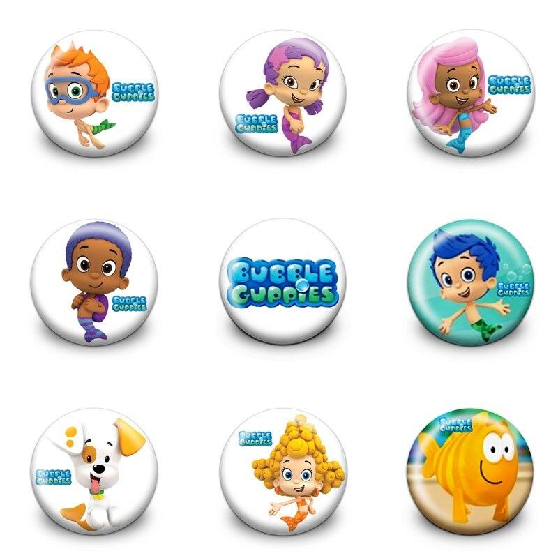 9 unids burbuja guppies dibujos animados figura Insignias 3.0 cm ...