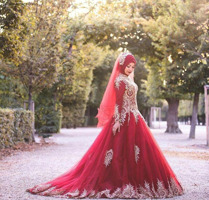 High Neck Wedding Dresses Saudi Arabia Muslim Dubai Long Sleeves