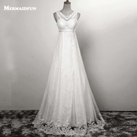 2017 A Line Pearl Beaded Luxury Lace Up Back White Ivory Wedding Dresses Bridal Gowns Robe