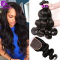 8A Brazilian Body Wave With Closure 4 Bundles Brazilian Virgin Hair Body Wave With Closure Unprocessed Human Hair With Closure