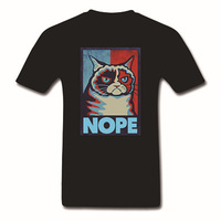 Grumpy Cat Nope 2 Tone Men's T-Shirt Meme Poster Image Licensed NWT Top Tee Cotton Funny Print T Shirt For Womens/Mens Plus Size