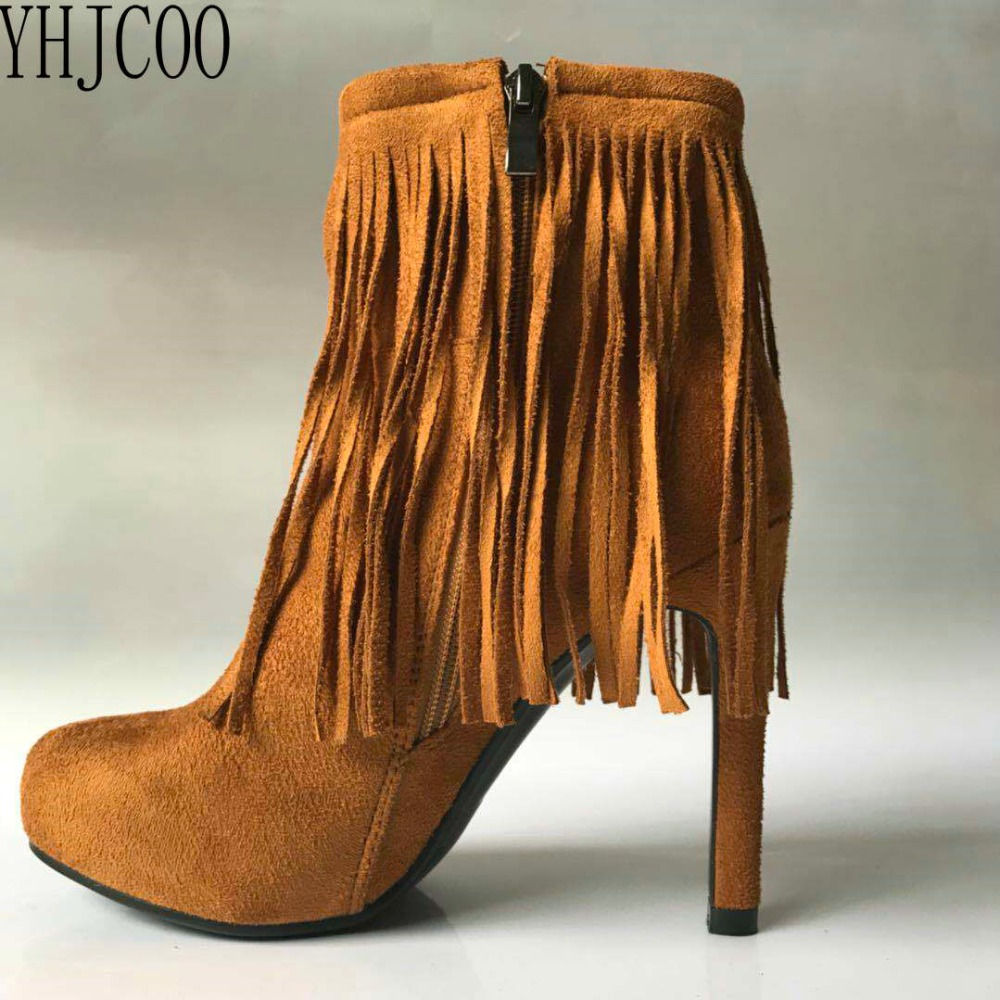 2017 new sexy high heel platform fringed feet Ankle Boots Suede Woman Boots fashion Women's Shoes size 34-43 nasipal 2017 new women pu sexy fashion over the knee boots sexy thin high heel boots platform woman shoes big size 34 43 g804