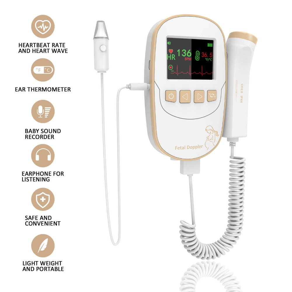 Fetal Doppler,Pocket Prenatal Angel Sounds Heartbeat Unborn Heart Rate Fetal Monitor With Ear Thermometer,Alarm System-Golden футболка prenatal футболка