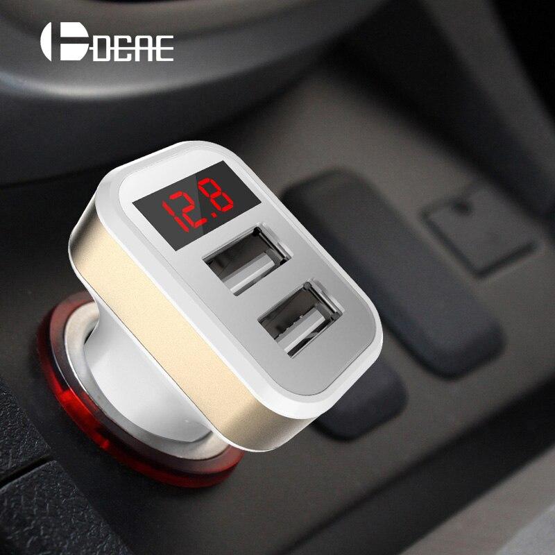 Nabíječka do auta Digitální displej Dual USB Port pro iPhone iPad Samsung Xiaomi Nabíječka do telefonu 3.1A Nabíječka do auta Double USB