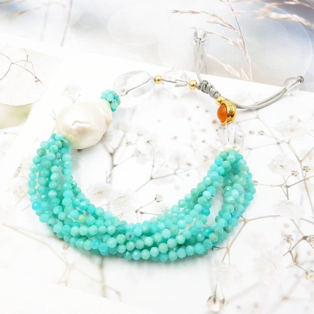 Lii Ji pierre précieuse naturelle brillant Amazonite Baroque perle claire Quartz cornaline Bracelet de mode