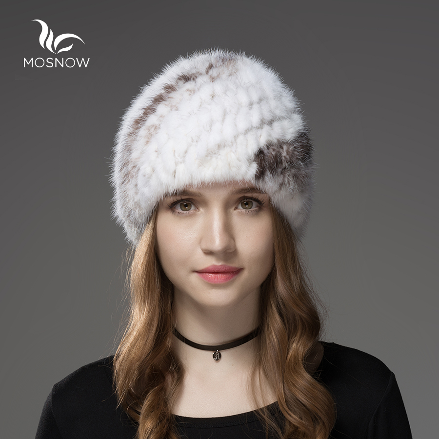 Mosnow Fur Hats For Women Natural Mink Fur Pineapple Pattern Winter Casual Warm Vogue Knitted Hats For Girls   Skullies     Beanies