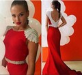 2016 Sexy Red Prom Dresses Short Sleeve Mermaid Formal Prom Gowns Satin Beaded Crystal Backless Court Train Robe De Soiree