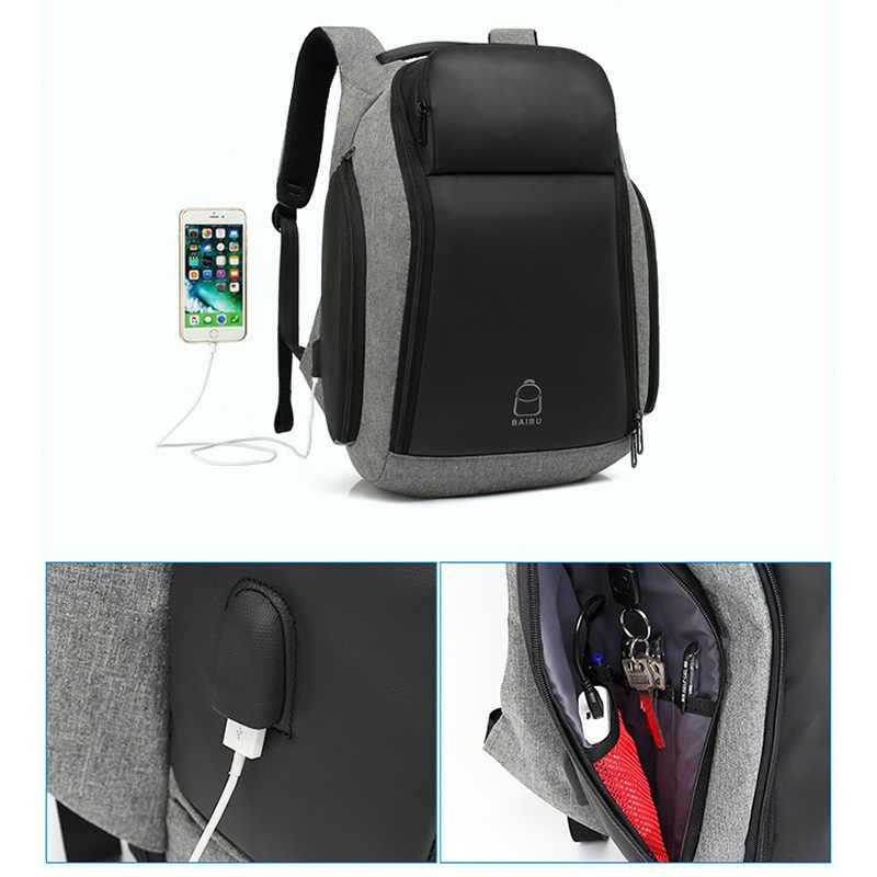 BAIBU גברים 17 אינץ מחשב נייד נגד גניבת תרמיל מים דוחה Multifunct תרמיל עם USB טעינת נמל נסיעות תרמילי זכר