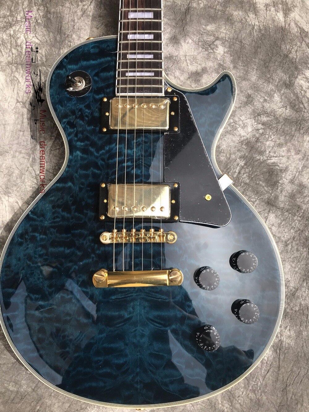 Chine firehawk OEM custom shop électrique guitare g guitare Foncé bleu ondulation de l'eau en bois d'érable Or matériel, livraison gratuite