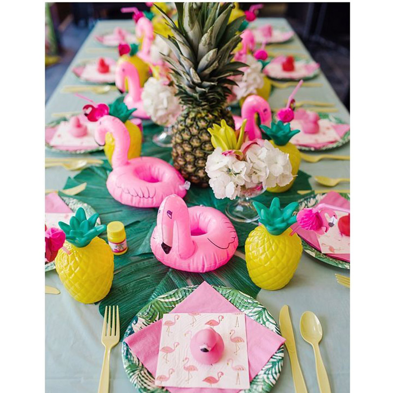 WEIGAO Summer Flamingo Hawaii Theme Party Decoration Happy Birthday Party Foil Balloon Tableware Cup Wedding Decoration Supplies