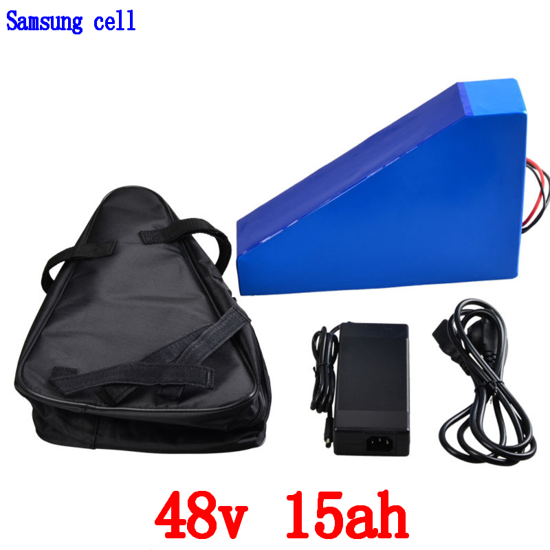 48v Triangle battery 48v 15ah electric bike battery 48V 15AH Lithium battery use samsung cell with 20A BMS and 54.6V 2A charger48v Triangle battery 48v 15ah electric bike battery 48V 15AH Lithium battery use samsung cell with 20A BMS and 54.6V 2A charger