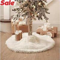 78 90cm 122CM Navidad árbol blanco falda delantales de piel largo de felpa falda del árbol de Navidad alfombra Extra grande Navidad Fiesta en casa Decoración