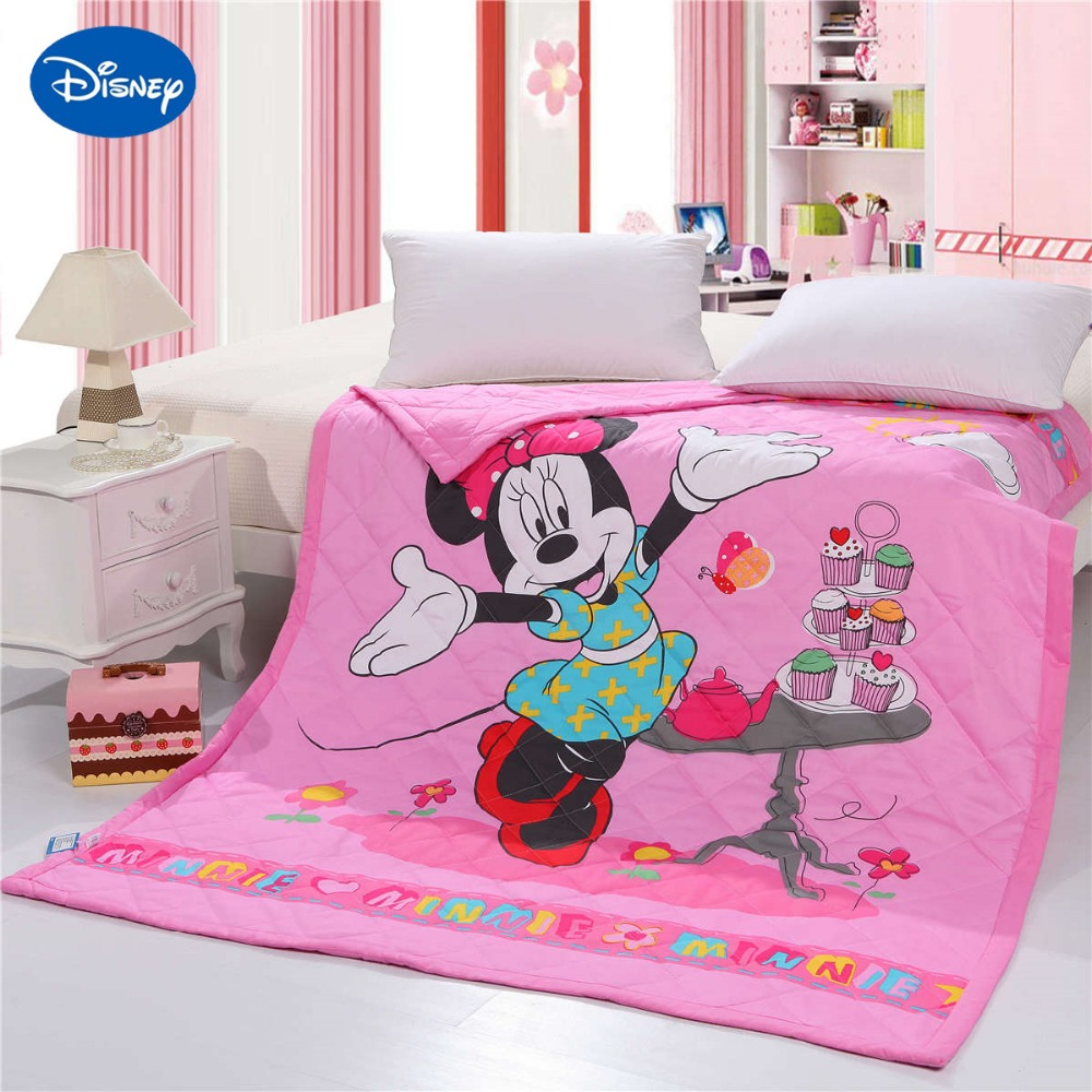 Hot Minnie Mouse Quilted Comforter Bedding Woven Cotton Shell 150*200cm Size High Quality Summer Season Girls Baby Bedroom Decor