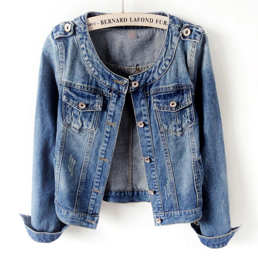 abaa0ac558c plus size 5XL 2018 Autumn Denim Jacket Women Long Sleeve O-Neck Jeans  Jacket Women
