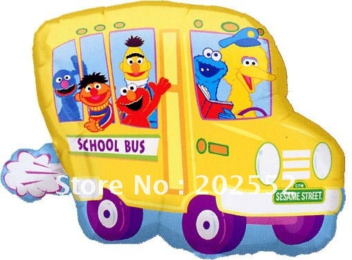 Sesame Street school bus birthday party decoration cartoon foil helium balloon 50pcs/lot free shipping