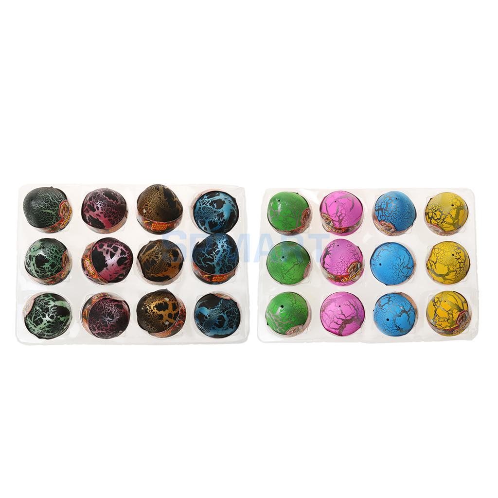 24 Pcs Multicolored Dinosaur Eggs Hatching Toy Growing Dino Pet Jurassic World