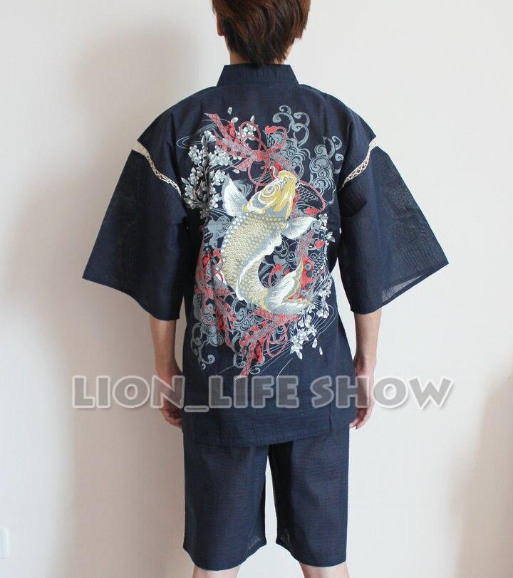 summer Men Japanese Jinbei Kimono Carp  Short Sleeve Pants Sleepwear Pajama Homewear