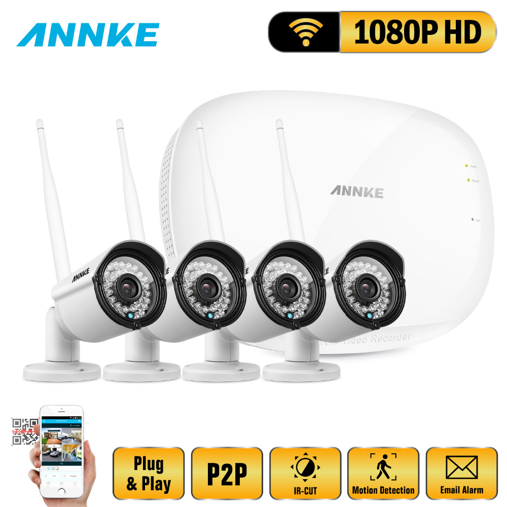 ANNKE 1080P 4CH Wireless NVR CCTV System wifi 2.0MP IR Outdoor Bullet P2P IP Camera Waterproof Security Video Surveillance Kit 5 8g 1 0 mp 1 4 color cmos 4ch 720p wifi 1 nvr with 4 pcs waterproof ir bullet wireless ip camera wireless cctv system kit