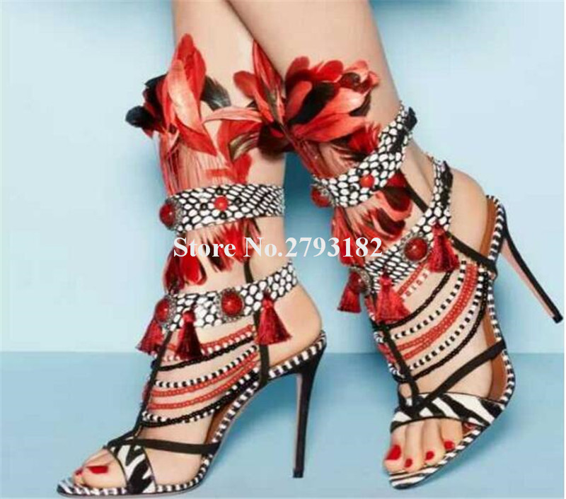 Women Charming Open Toe Mix-colors Feather Thin Heel Gladiator Sandals Cut-out Beads Chains High Heel Sandals Dress Shoes women gladiator sandals gold chains slip on high heel slippers shoes