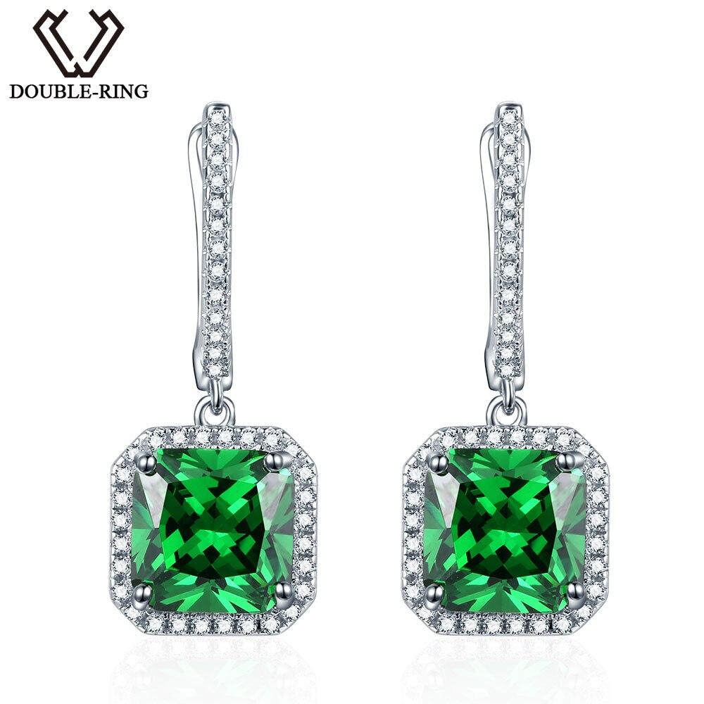 Emerald Drop Earrings 925 Sterling Silver 7 85ctw Green Created Square Gemstone Earrings for Women Birthstone