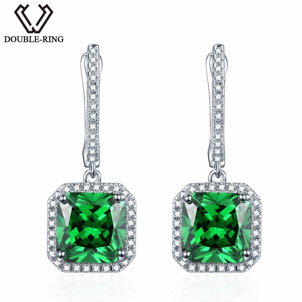 Emerald Drop Earrings 925 Sterling Silver 7.85ctw Green Created Square Gemstone Earrings for Women Birthstone Anniversary Party