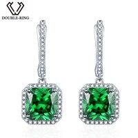 DOUBLE R Created Green Emerald Luxury Fine Wedding Jewelry Earrings 925 Sterling Silver Jewelry Drop Earrings