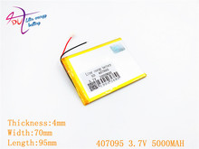 3.7V 5000mah (polymer lithium ion battery) Li-ion battery for tablet pc 7 inch 407095 replace High capacity