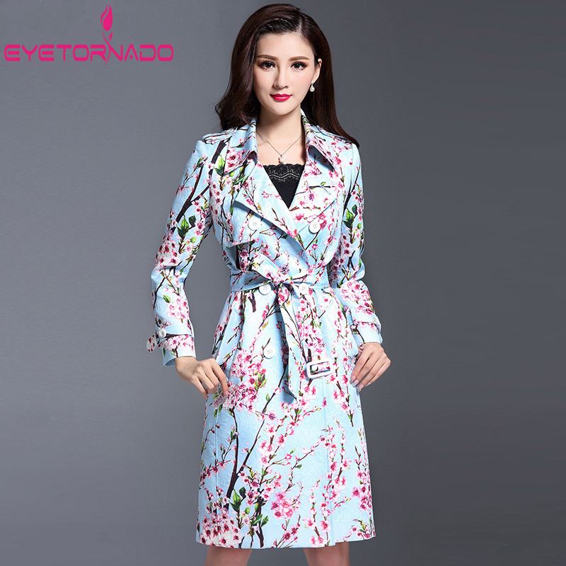 Fashion Long   Trench   Woman Classic Double Breasted   Trench   Coat Floral Print Dobby Casual Work Business Windbreaker Outerwear