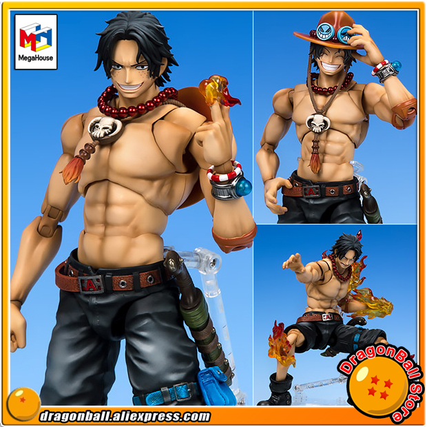 Japan Anime ONE PIECE Original MegaHouse Variable Action Heroes DX Action Figure - Portrait.Of.Pirates x VAH: Portgas D. Ace japan anime one piece original megahouse variable action heroes action figure rob lucci