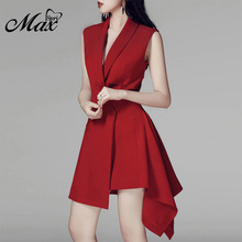 купить Max Spri 2019 New Fashion Women Plunge V-neck Sexy Sleeveless Belt Asymmetric Hem Wrap Mini Dress For Office Lady Red Hot онлайн